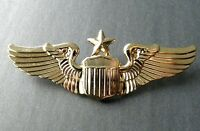USAF AIR FORCE SENIOR PILOT WINGS LAPEL PIN BADGE 3 INCHES GOLD COLORED
