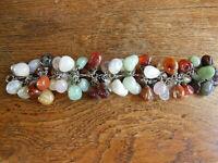 Incroyable bracelet vers 1960 en Agates et pierres de diverses couleurs argent