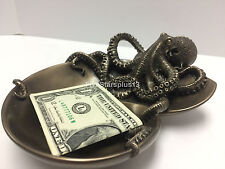 Octopus on Spiral Shaped Tray Steampunk Animal Home Decor Statue Figure