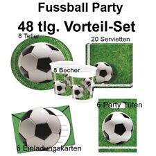 48 tlg. Vorteil-Set FUSSBALL Platz  Kinder Geburtstag Party Deko Teller Becher