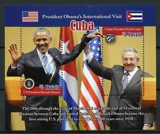 Tuvalu 2016 MNH Barack Obama Visits Cvba Raul Castro 2v S/S US Presidents Stamps