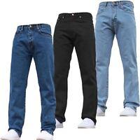 NEW MENS BASIC DENIM JEANS STRAIGHT LEG WORK STONE WASH BOTTOM REGULAR FIT PANTS