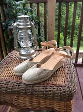 White Mountain(SAILBOAT)Natural Green Canvas Studded Espadrille Wedge 8.5M GUC