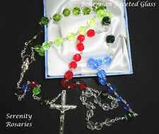 Missionary / World Peace Rosary Handmade in Colourful Faceted Glass(gift boxed)