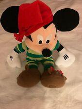 Disney Store Mickey Mouse Holiday Plush Stuffed Animal Green Pajamas Reindeer