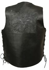 Mens Black Solid Leather EAGLE HEAD w/ Stars Embossed Vest, Side Lace Gun Pocket
