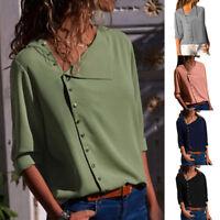 Women Summer Long Sleeve Office Lady Chiffon Blouse Shirt T-Shirt Ladies Tops #@