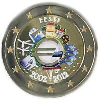 2 euro Estonia 2012 UME decennale unione monetaria colorata