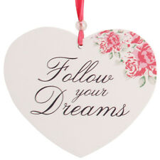 Shabby Chic 'Follow Your Dreams' Hanging Posies Heart Plaque