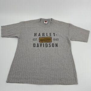 VTG Harley Davidson Grey Herringbone Textured Shirt Mens Sz L Huntington WV EUC