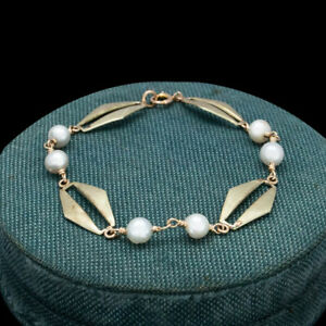 Antique Vintage Art Deco Retro 14k Yellow Gold Akoya Pearl Round Chain Bracelet
