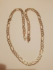 "10k Yellow Gold Figaro Link Chain Necklace 5MM 22"" Inch Chain  9.2 grams"