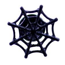 Punk goth style black enamel spider web pin / brooch, Halloween