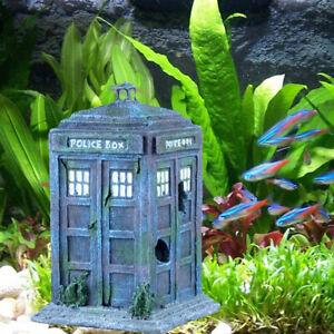 Model Fish Tank Decor Police Booth Aquarium Ornament Pets Toy House Accessories.