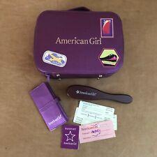Travel Luggage set 2005 American Girl doll sized purple case passport railway