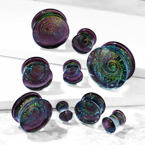 Flared Glass Plugs Purple Galaxy Swirl Double - Sold as Pair