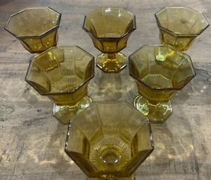 Vintage Independence Glass Octagonal Wine Glasses and Custard Glasses X6 Cordial