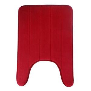 U-Shaped Memory Foam Bath Mats Toilet Mat Bathroom Coral Fleece Carpet Home D FJ