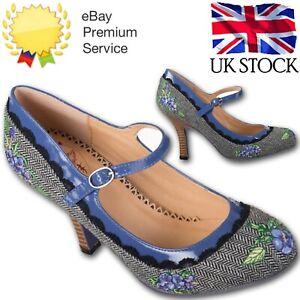 Banned Apparel 1950's Herringbone Retro Floral Mary Jane Grey Tweed Heels 3-8