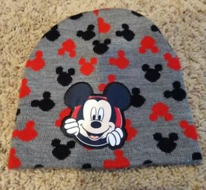 Disney Mickey Mouse Toddler Size 2T-5T Unisex Stocking Cap Hat Gray Black Red
