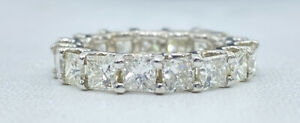 5.68 ct 17 x DIAMOND eternity PRINCESS band ring 14k white GOLD size 6.5 (VIDEO)