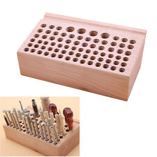 leathercraft Wooden Holding Organiser Wood Tool Stand for Punches Tools 76 Holes