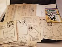31 Vtg 1920-30's Quilt Patterns Old Newspaper Clippings + Misc Patterns, Book