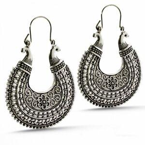 Traditional Metal Oxidised Silver Drop Earrings for Women & Girls, Silver Ethnic