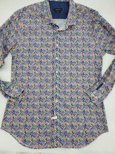 BUGATCHI Mens Long Sleeve Multicolor SHAPED FIT XXL 2XL Geometric Shirt 21*7
