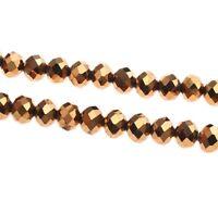 15 TSCHECHISCHE KRISTALL GLASPERLEN FACETTIERT 10mm Fire-Polished Gold Braun X69