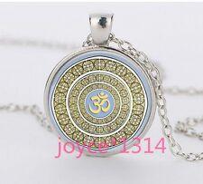 Om Pendant , Om Symbol Necklace , Namaste Yoga Jewelry ,Tibetan silver #1228