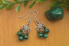 Natural Green MALACHITE Gemstone Chinese Lucky Knot Dangle Earrings ~ Feng Shui