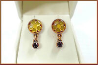 NEW PILGRIM 16K GOLD EARRINGS DARK RED SWAROVSKI CRYSTALS ENAMEL FLOWERS DROP .,