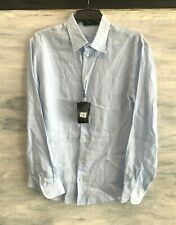 NEW EMPORIO ARMANI 'Camicia Uomo' Button-Front Long Sleeve Shirt, M - Light Blue