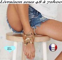 Chaine de cheville Boho Bohème luxe dorée sexy bracelet pied Taille Arête G5