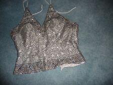 #11/6/Pp vtg women Haulter top Silver Sequins adjustable size Tie Back