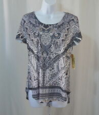 NEW One World Micro Jersey Flutter Sleeved Beaded Front V-Neck Top