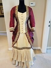 48 HOUR SALE!!!! Victorian Bustle dress in wine and gold taffeta