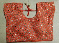 Orange Mirror work Indian Blouse Choli Top Dupion Saree Bollywood Belly Dance