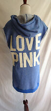 Victoria's Secret XS Love Pink Blue French Terry Hooded Sweatshirt Dress Hoodie