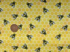 fat quarter cotton poplin with small bees on yellow honeycomb background