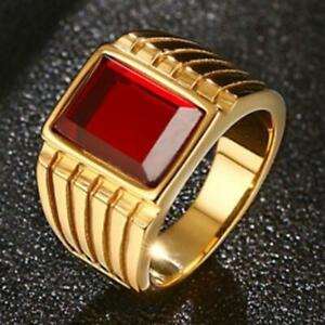 Classic 18K Yellow Gold Over Big Red Ruby Rings for Men Cool Large Rings Party