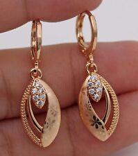 18K Gold Filled - Zircon Cat Tiger Eye Hollow Gemstone Topaz Ball Lady Earrings