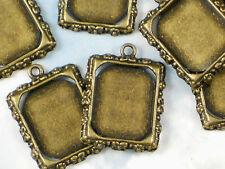 5 Bezel Tray Photo Frame Charm Settings Bronze Tone Metal Alloy Pendants #P446