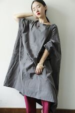 MISS LING linen/cotton Hand embroidery 3/4 Sleeve Tunic Design Gray Free Size