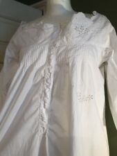 Antique French Lawn Cotton Hand Embroidered Nightgown Nightdress Chemise