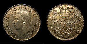 1946 Canada Silver Fifty 50 Cents King George VI Toned AU-50