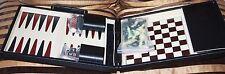 Vintage Pierre Cardin Chess / Backgammon Set in Black Faux Leather Travel Case
