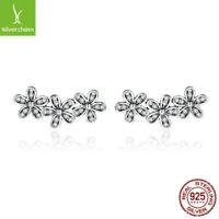 Authentic Dazzling Daisy Flower CZ stud Earrings fit sterling 925 women Jewelry