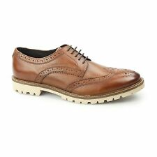 Base London RAID Mens Formal Smart Washed Leather Derby Brogue Shoes Brown Tan